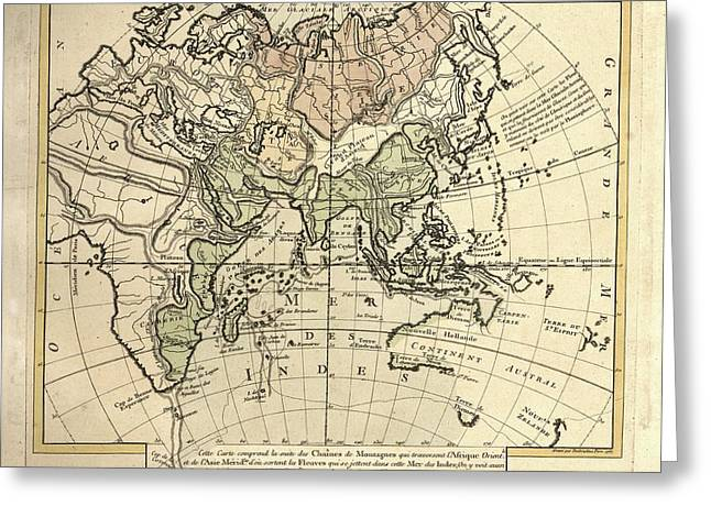 Map Of The Indian Ocean Greeting Card by Library Of Congress, Geography And Map Division