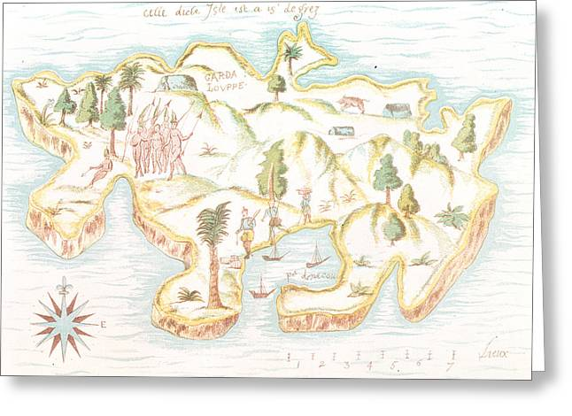 Treasures Drawings Greeting Cards - Map of the island of Martinique Greeting Card by Samuel de Champlain