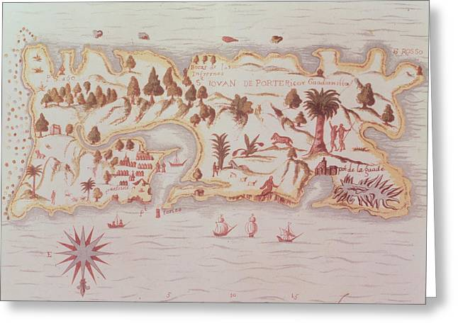 Treasures Drawings Greeting Cards - Map of the island of Puerto Rico Greeting Card by Samuel de Champlain
