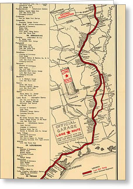 Old Country Roads Drawings Greeting Cards - Map of the Lone Star Route 1922 Greeting Card by Mountain Dreams
