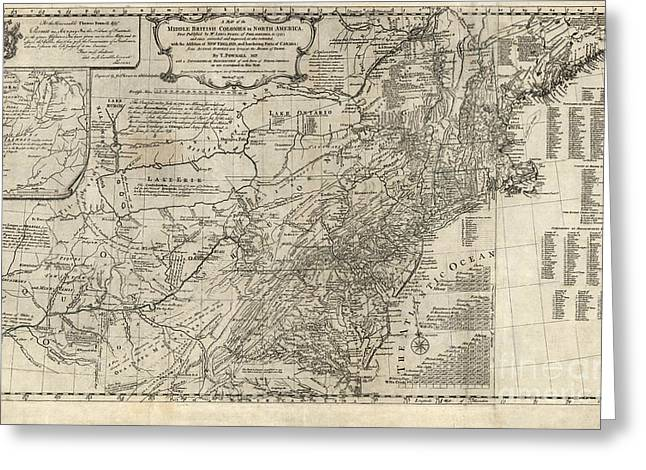 Historic England Drawings Greeting Cards - Map of the middle British colonies in North America - 1776 Greeting Card by Pablo Romero