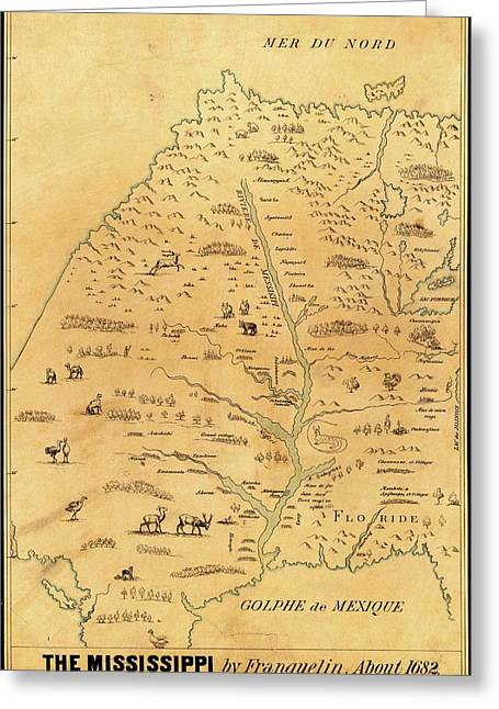 Map Of The Mississippi River Greeting Card by Library Of Congress, Geography And Map Division