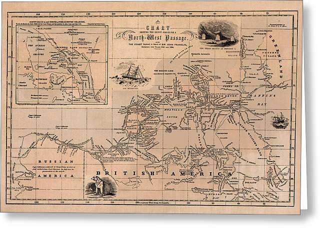 Map Of Canada Greeting Cards - Map of the Northwest Passage 1856 Greeting Card by Andrew Fare