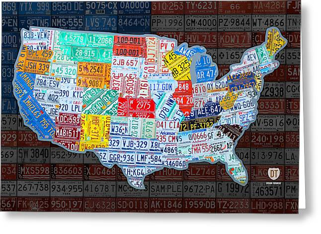 Map Mixed Media Greeting Cards - Map of the United States in Vintage License Plates on American Flag Greeting Card by Design Turnpike