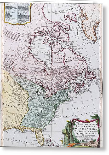 Vertical Drawings Greeting Cards - Map of the USA and the British Dominions in North America Greeting Card by English School