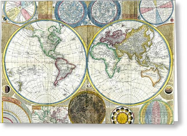 Vintage Map Paintings Greeting Cards - Map of the world - 1794 Greeting Card by Pablo Romero