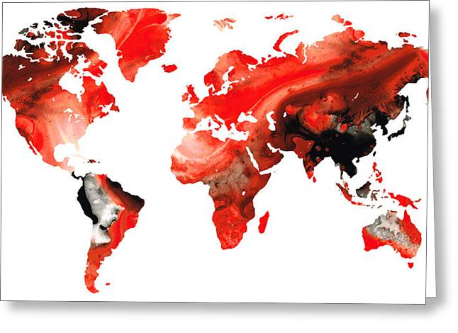 World Maps Mixed Media Greeting Cards - Map of The World 10 -Colorful Abstract Art Greeting Card by Sharon Cummings