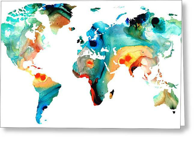World Maps Mixed Media Greeting Cards - Map of The World 11 -Colorful Abstract Art Greeting Card by Sharon Cummings