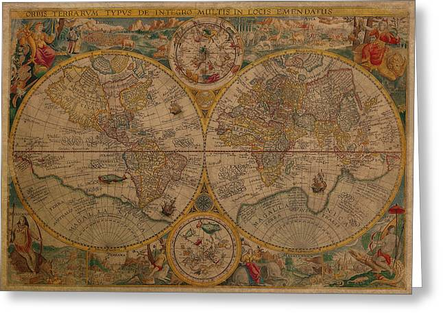 World Maps Mixed Media Greeting Cards - Map of the World 1599 Vintage Ancient Map on Worn Parchment Greeting Card by Design Turnpike