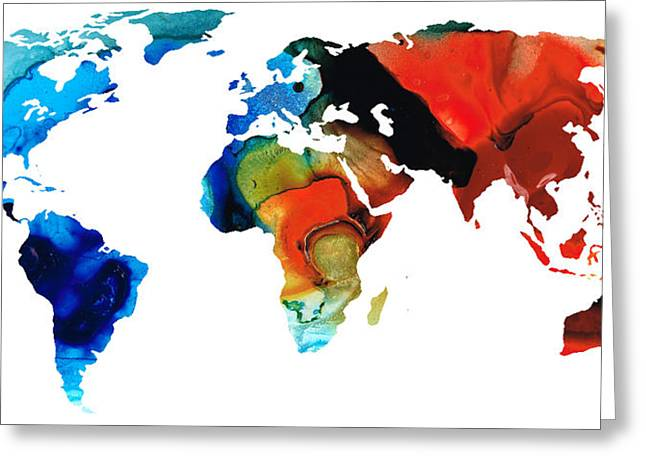 World Maps Mixed Media Greeting Cards - Map of The World 3 -Colorful Abstract Art Greeting Card by Sharon Cummings