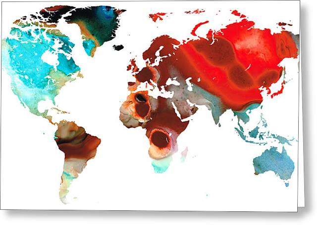 Map Of The World 5 -colorful Abstract Art Greeting Card by Sharon Cummings