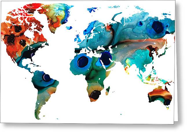 World Maps Mixed Media Greeting Cards - Map of The World 6 -Colorful Abstract Art Greeting Card by Sharon Cummings