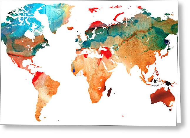 World Maps Mixed Media Greeting Cards - Map of The World 7 -Colorful Abstract Art Greeting Card by Sharon Cummings