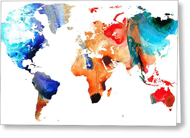 Wall Art Framed Prints Greeting Cards - Map of The World 8 -Colorful Abstract Art Greeting Card by Sharon Cummings