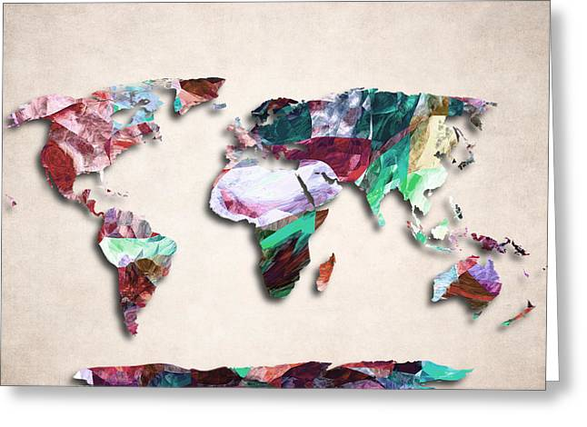 Planet Map Greeting Cards - Map Of The World - Abstract Color Design Greeting Card by World Art Prints And Designs