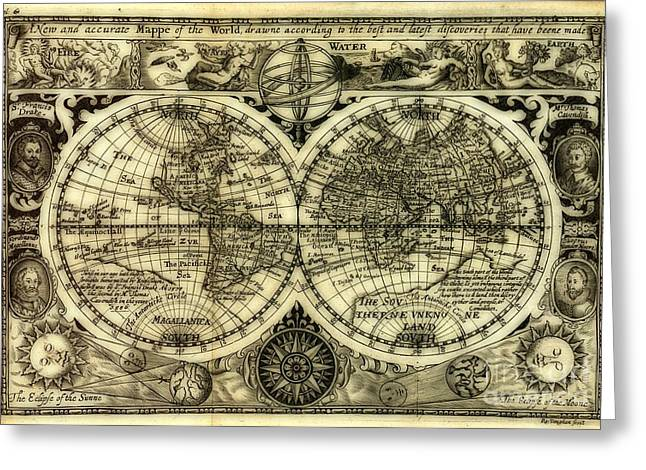 World Map Print Photographs Greeting Cards - Map of the World Antique Reproduction Greeting Card by Inspired Nature Photography By Shelley Myke