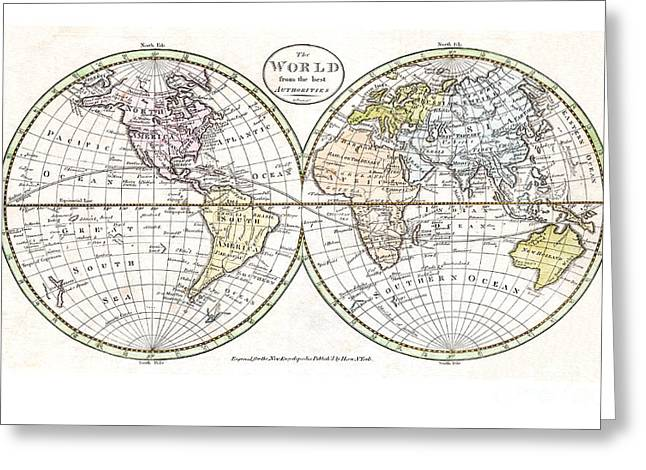 Vintage Map Paintings Greeting Cards - Map of the World by Payne - 1798 Greeting Card by Pablo Romero