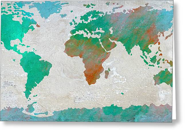 Cabin Interiors Digital Greeting Cards - Map of the World - colors of Earth and Water Greeting Card by Paulette B Wright