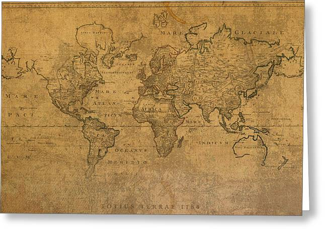 Worn In Greeting Cards - Map of the World in 1784 Latin Text on Worn Stained Vintage Parchment Greeting Card by Design Turnpike