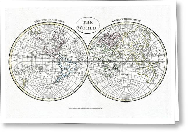 Vintage Map Paintings Greeting Cards - Map of the World in Hemispheres by  Cruttwell - 1799 Greeting Card by Pablo Romero
