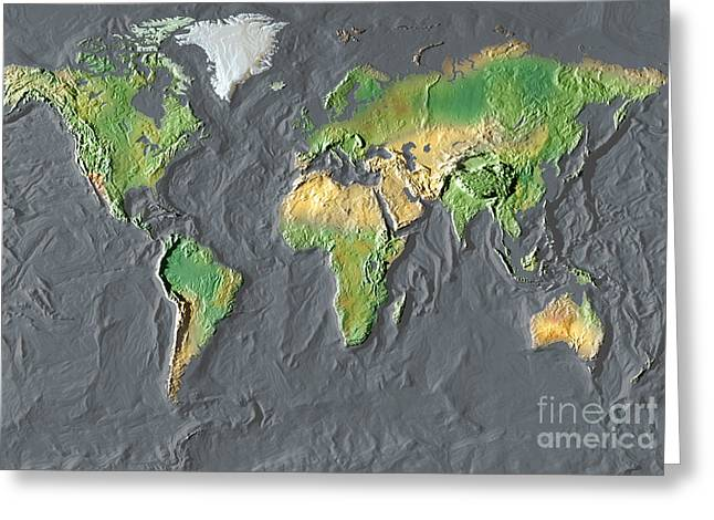 Relief Map Greeting Cards - Map Of The World In Relief Greeting Card by Mike Agliolo