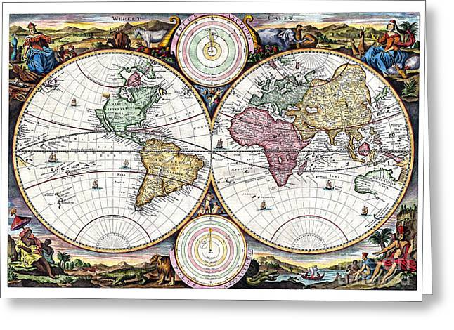 Vintage Map Paintings Greeting Cards - Map of the world in two Hemispheres - 1730 Greeting Card by Pablo Romero