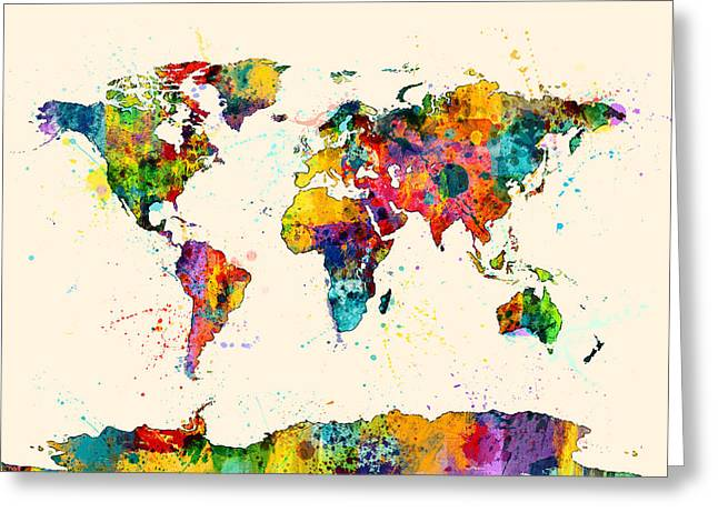 Planet Map Digital Art Greeting Cards - Map of the World Map Watercolor Greeting Card by Michael Tompsett