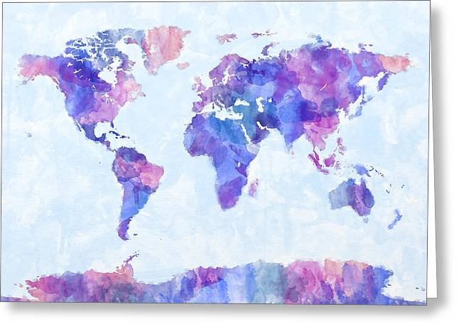 Urban Watercolour Greeting Cards - Map of the World Map Watercolor Painting Greeting Card by Michael Tompsett