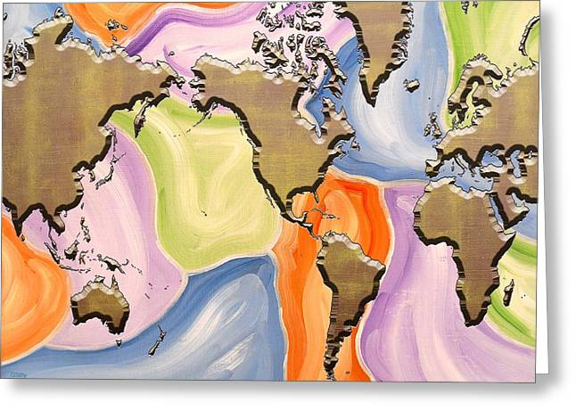 Tablets Mixed Media Greeting Cards - Map Of The World Greeting Card by Patrick J Murphy
