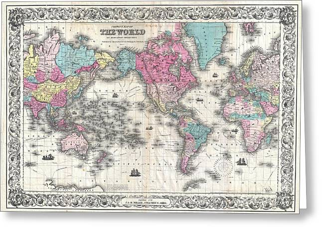 U.s On The Continent Of America Greeting Cards - Map of the World Greeting Card by Paul Fearn