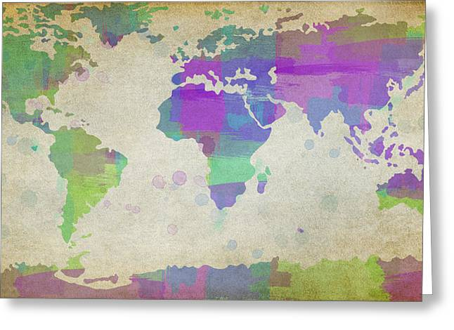 Designer World Map Greeting Cards - Map of the World - Plaid Watercolor Splatter Greeting Card by Paulette B Wright