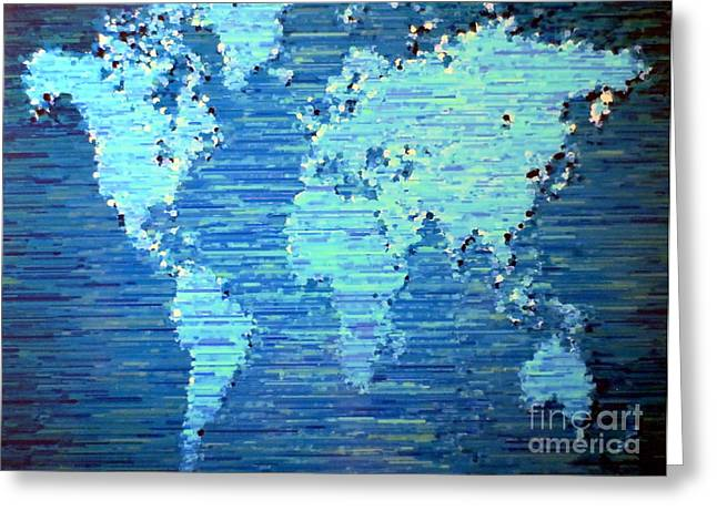 Planet Map Paintings Greeting Cards - Map of the World Greeting Card by Susan Waitkuweit