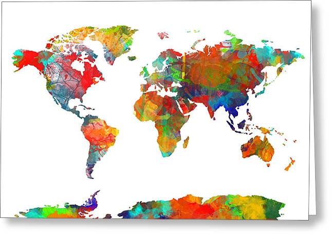 Urban Images Greeting Cards - Map Of The World Watercolor Greeting Card by MB Art factory