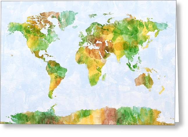 Atlas Greeting Cards - Map of the World Watercolour Greeting Card by Michael Tompsett