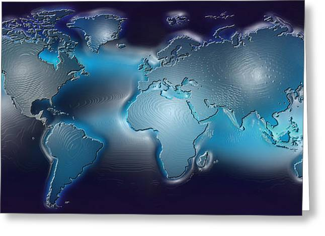 Planet Earth Greeting Cards - Map Of The World With Blue Trail Greeting Card by Panoramic Images