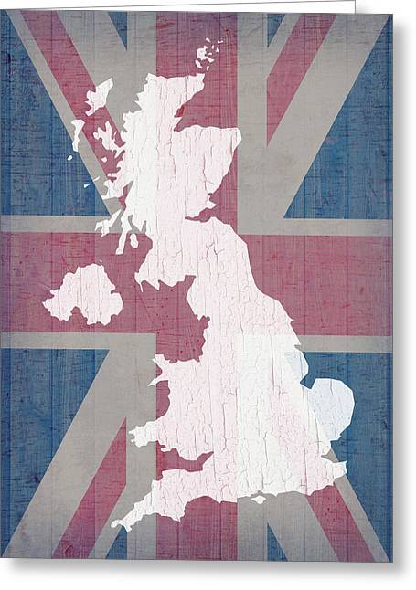 Barn Wood Greeting Cards - Map of United Kingdom and Union Jack Flag on Barn Wood Greeting Card by Design Turnpike