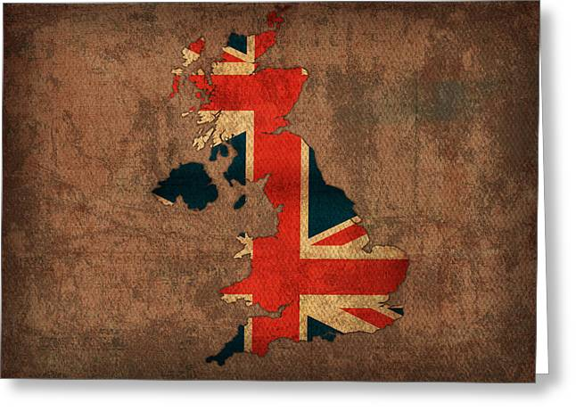 Map Mixed Media Greeting Cards - Map of United Kingdom With Flag Art on Distressed Worn Canvas Greeting Card by Design Turnpike