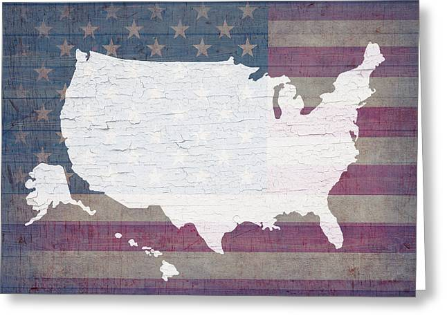 Barn Wood Greeting Cards - Map of United States in White Old Paint on American Flag Barn Wood Greeting Card by Design Turnpike