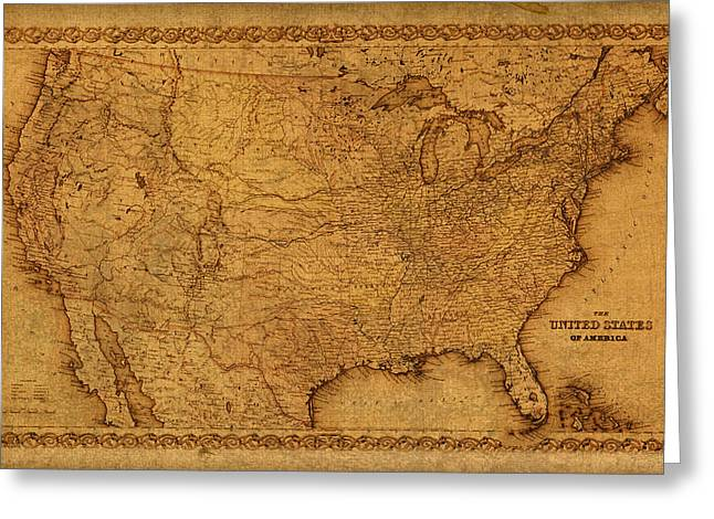 Map Mixed Media Greeting Cards - Map of United States of America Vintage Schematic Cartography Circa 1855 on Worn Parchment  Greeting Card by Design Turnpike