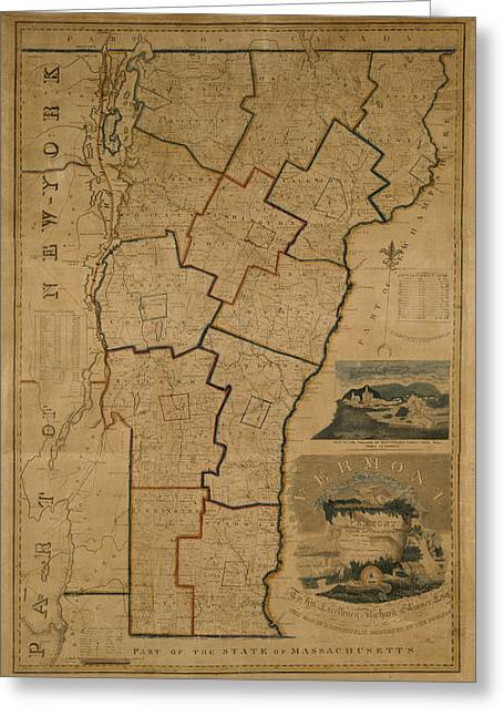 Vintage Map Photographs Greeting Cards - Map of Vermont 1824 Greeting Card by Andrew Fare