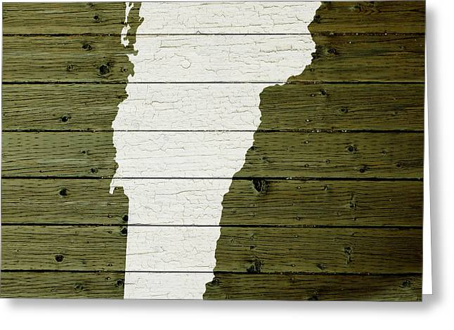 Painted Wood Mixed Media Greeting Cards - Map Of Vermont State Outline White Distressed Paint On Reclaimed Wood Planks Greeting Card by Design Turnpike