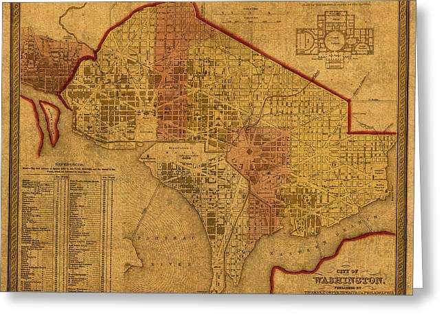 District Of Columbia Greeting Cards - Map of Washington DC in 1850 Vintage Old Cartography on Worn Distressed Canvas Greeting Card by Design Turnpike