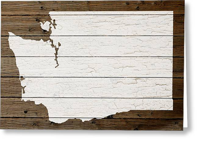 Tacoma Greeting Cards - Map Of Washington State Outline White Distressed Paint On Reclaimed Wood Planks Greeting Card by Design Turnpike