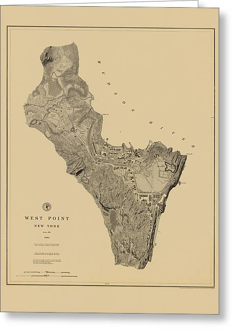 West Point Greeting Cards - Map of West Point 1883 Greeting Card by Andrew Fare