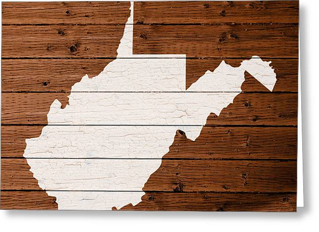 Painted Wood Greeting Cards - Map Of West Virginia State Outline White Distressed Paint On Reclaimed Wood Planks Greeting Card by Design Turnpike