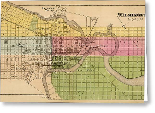 Wilmington Greeting Cards - Map of Wilmington 1868 Greeting Card by Andrew Fare