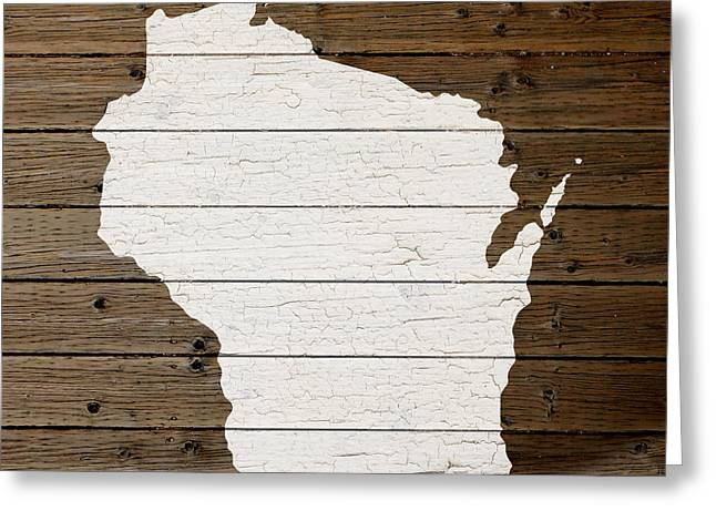 Painted Wood Mixed Media Greeting Cards - Map of Wisconsin State Outline White Distressed Paint on Reclaimed Wood Planks Greeting Card by Design Turnpike