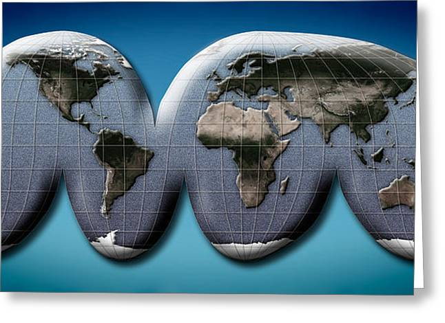 Global Communications Greeting Cards - Map Of World From Goodes Homolosine Greeting Card by Panoramic Images