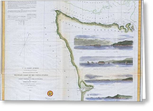 Map Or Chart Of Northwestern Washington State  Greeting Card by Paul Fearn