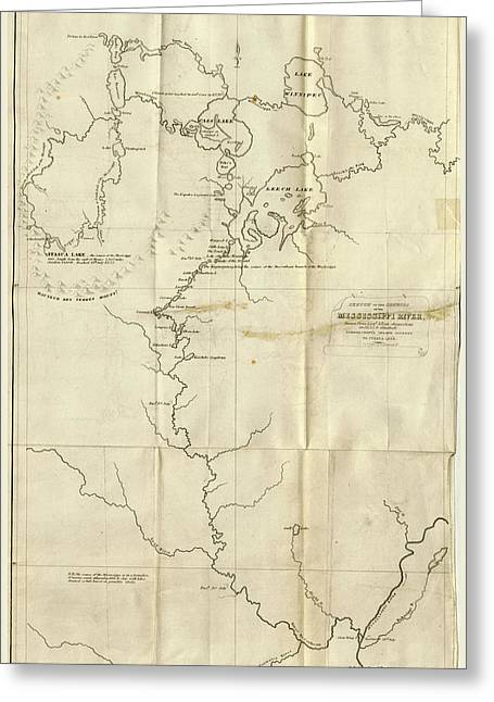 Map The Upper Mississippi To Itasca Lake Greeting Card by Litz Collection